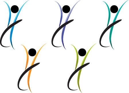 Set of dancer icon logo concept design illustration. Logo