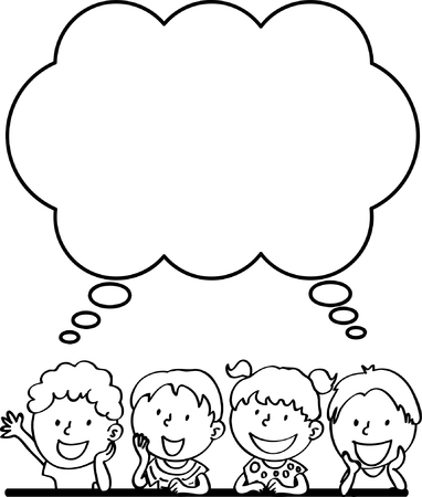 kids with thinking border Ilustração