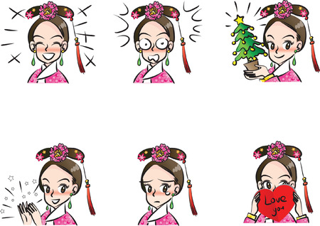 Chinese beauty with different expression package on white background