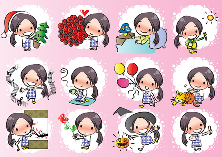 Little girl with different expressions package on pink background Stock Illustratie