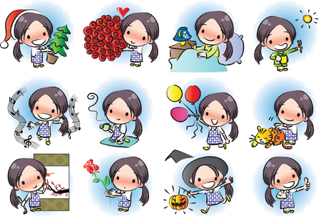 Little girl with different expressions package on white background