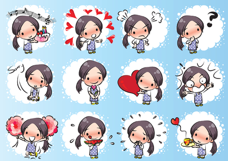 Little girl with different expressions package on blue background Stock Illustratie