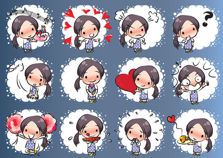 Little girl with different expressions package on colored background