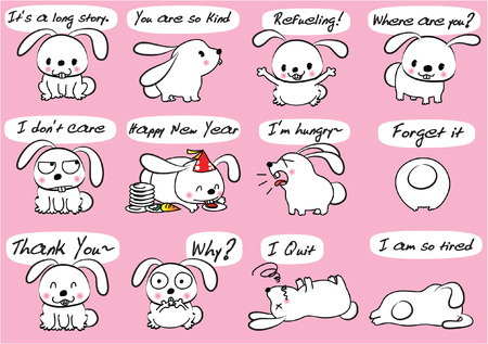 A rabbit Expression package. Stock Illustratie