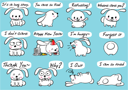 A rabbit Expression package Illustration