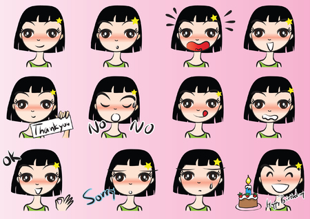 Girl with different Expressions package on pink background
