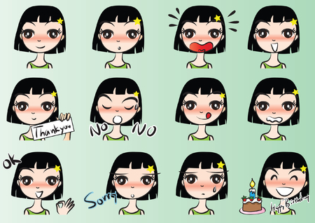 Girl with different Expressions package on green background Stock Illustratie
