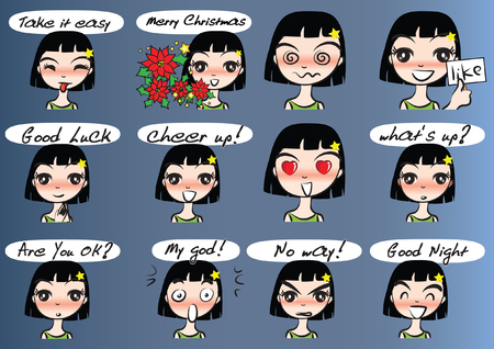 Collection set of girl with different facial Expression package