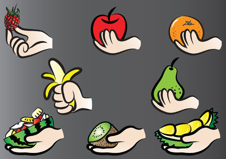 Collection vector illustration of a hand holding various kinds of fruit set on a gray background Vettoriali