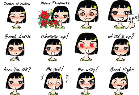Collection set of girl with different facial Expression package on a white background