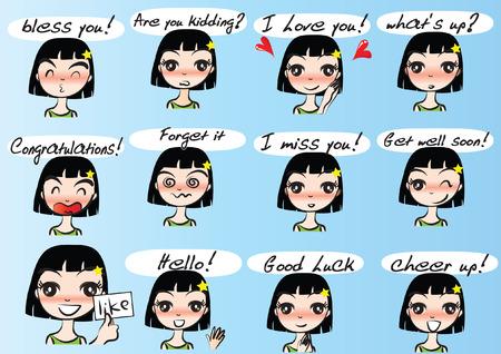 Various girls facial Expression package set, vector illustration