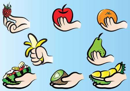 Human hand holding a kind of fruit vector illustration set on a blue background Vettoriali