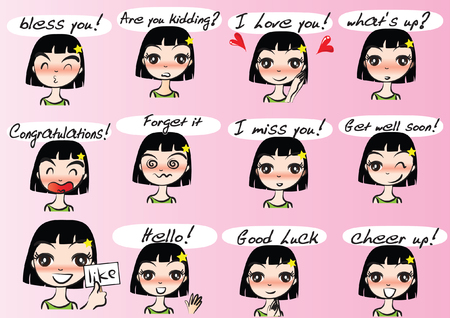 Various girl's facial Expression package set, vector illustration