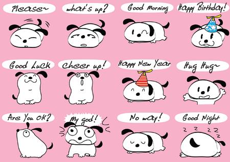 Various dogs facial Expression or emotion package set vector illustration on pink background Illustration
