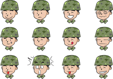Set of army men  expressions Stock Illustratie