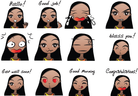 Girl's expressions package.
