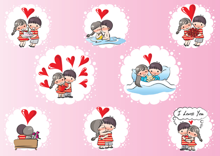 Valentines day card set. Illustration