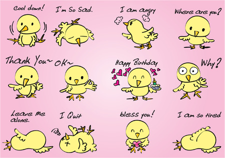 Set of cute chick expression illustration. Vectores