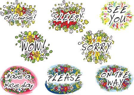 flower greeting card Set on white, Vector illustration. Ilustrace