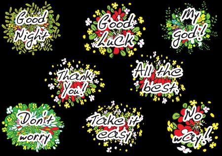 flower greeting card On black background Vector illustration. Ilustrace