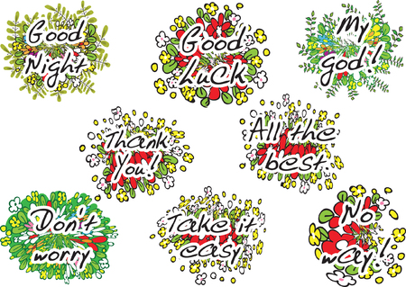 flower greeting card set on white, Vector illustration.