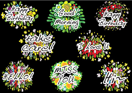 flower greeting card Set on black Vector illustration.