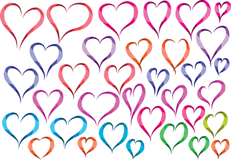 heart shape Set in different colors, Vector illustration. Vettoriali