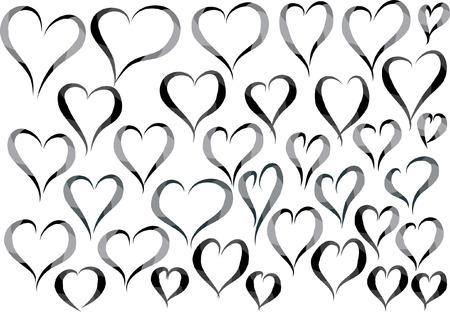 heart shape Set in black, Vector illustration. Vettoriali