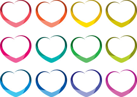 heart shapes in different colors, set Vector illustration.