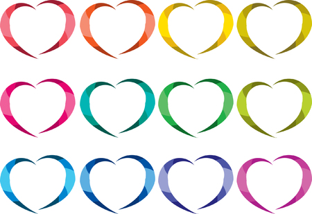 heart shape design set Vector illustration. Vettoriali