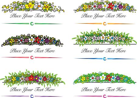 flowers border set Vector illustration.