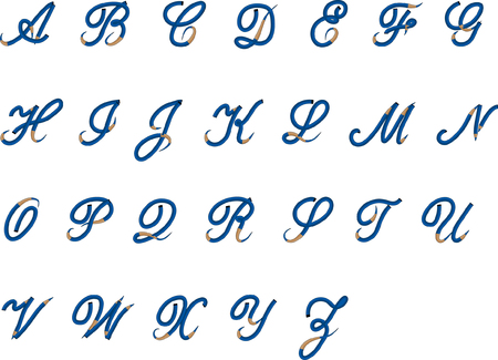 Alphabet A to Z in script style