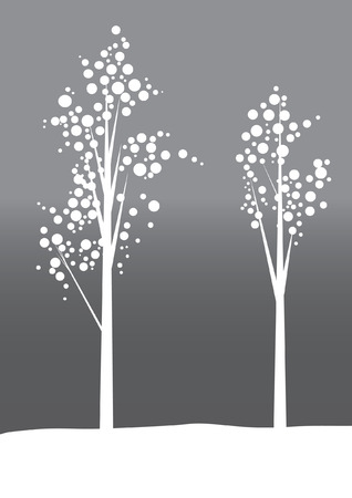 Two trees with cherry blossoms illustration Vettoriali