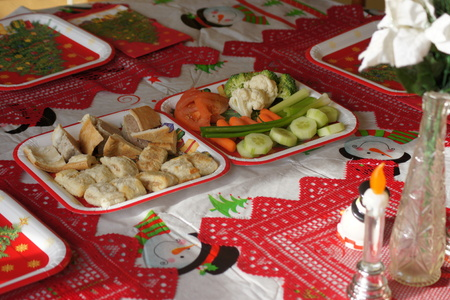 feast: Assorment of snacks on festive Christmas table.