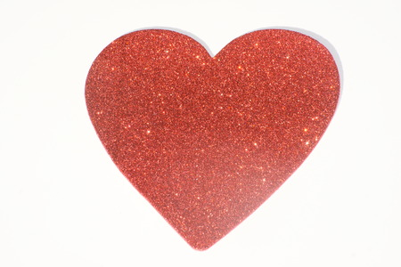 sweethearts: Isolated red heart, white background.