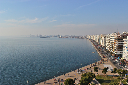 Thessaloniki waterfront from above with the Harbor Editorial