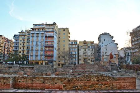 Colorful high apartment houses above Ancient Agora, Roman Forum,  Thessaloniki