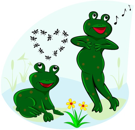 The illustration shows two funny green frogs that sing and dream. Stock Vector - 9789880