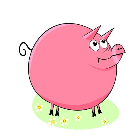 The illustration shows a funny cartoon pig. Illustration