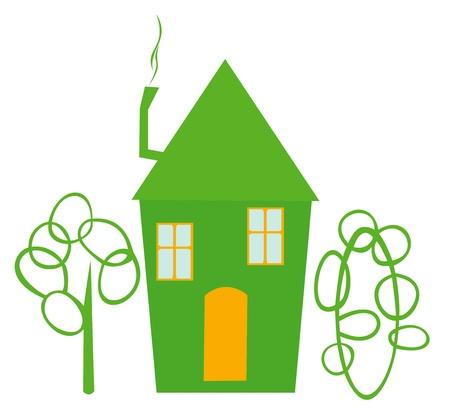 Die Abbildung zeigt die Silhouette des gr�nen Hauses und gr�nen B�umen. Illustration