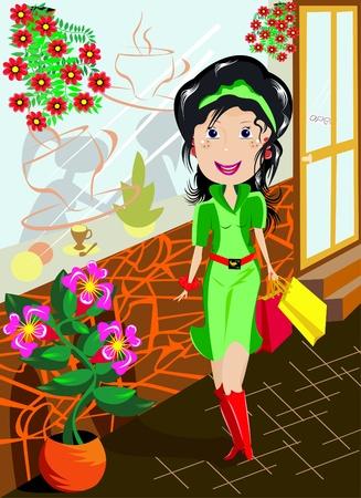 Die Abbildung zeigt eine junge frau freudig in ein gr�nes Kleid, der auf der Stra�e vor dem Hintergrund von Windows und Blumen geht.