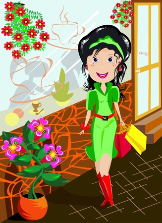 The illustration shows a young happy woman in a green dress who walks down the street against the background of windows and flowers. Illustration