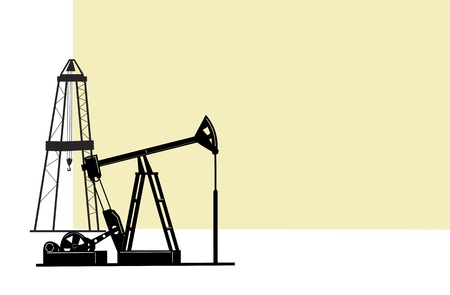 extraction: the illustration depicts the silhouettes  of derricks for the extraction of oil from the bowels of the earth.  Illustration