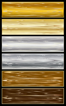 illustration of design elements with a metallic texture.   Vector