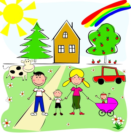 animal family: A family of four on the background of your own home and car, cows and trees.  Illustration