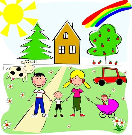 Eine Familie von vier auf dem Hintergrund Ihrer eigenen Haus und Auto, K�he und B�ume.