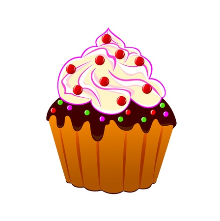 home baked:    Cake with cream, decorated with red berries on a white background. Illustration has two layers. Every bits and pieces can be turned off and edited.