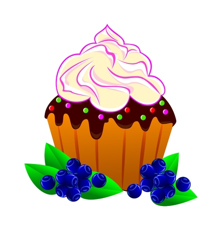 Cake with cream and blueberries on white background. Illustration has two layers. Every bits and pieces can be turned off and edited.            Vector