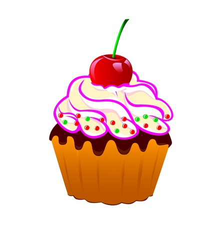 home baked: Cake with cream and cherries on a white background. Every bits and pieces can be turned off and edited.Vector EPS-8.                                                                                  Illustration