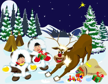 Boy and girl meet in the woods with a deer Rudolf and receive gifts from him.    Illustration